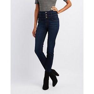 Dark Wash Triple Button High Waisted Jeans